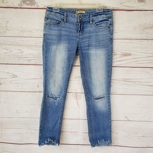 Free People frayed hem crop ankle jeans
